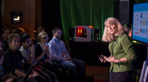 Lisa Graff presents at a keynote earlier this year during the Game Developer Conference.