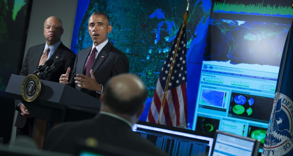 Obama speaks at  the National Cybersecurity and Communications Integration Center in Arlington, Va (AP Photo/Evan Vucci)